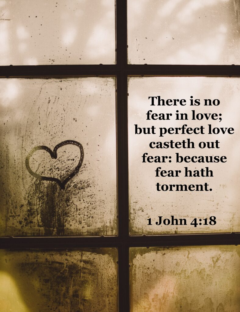 1 John 4:18 King James Version (KJV) 18 There is no fear in love; but perfect love casteth out fear: because fear hath torment. He that feareth is not made perfect in love.